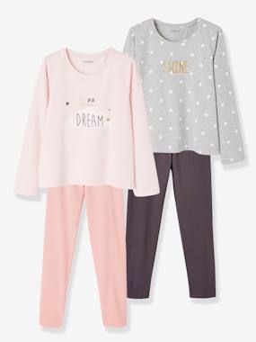 Vertbaudet Basics-Girls-Pack of 2 Cotton Pyjamas for Girls, Dream