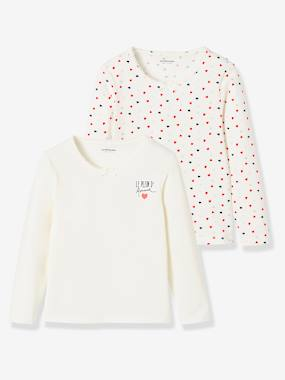 "Girls-Underwear-T-Shirts-Pack of 2 Long-Sleeved Stretch T-Shirts, ""Le Plein d'Amour"""