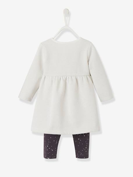 Ensemble bébé fille robe molleton et legging ANTHRACITE+IVOIRE+LAIT FRAISE+orange - vertbaudet enfant