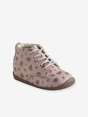 Vertbaudet Collection-Shoes-Leather Ankle Boots for Baby Girls, Designed for First Steps