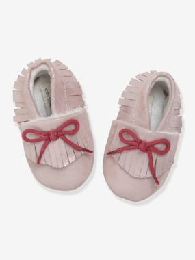 Shoes-Baby Footwear-Slippers & Booties-Soft Leather Pram Shoes with Faux Fur for Baby Girls