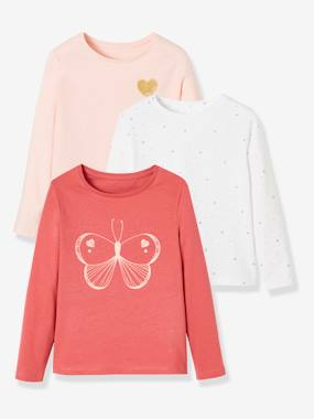 Vertbaudet Collection-Girls-Pack of 3 Assorted Tops, for Baby Girls