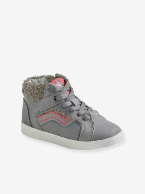 Shoes-Girls Footwear-Trainers-High Top Leather Trainers with Zip & Laces, for Girls