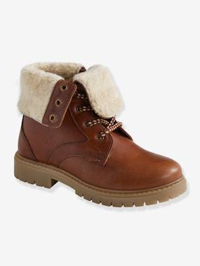 Shoes-Boys Footwear-Leather Boots with Faux Fur Turndown Top, for Boys