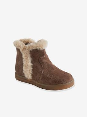 Vertbaudet Collection-Shoes-Leather Boots with Faux Fur Collar for Baby Girls