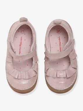 Shoes-Baby Footwear-Mary Jane-type Shoes in Supple Leather, for Baby Girls
