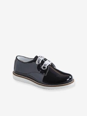 Shoes-Leather Derby Shoes with Message on Laces for Girls