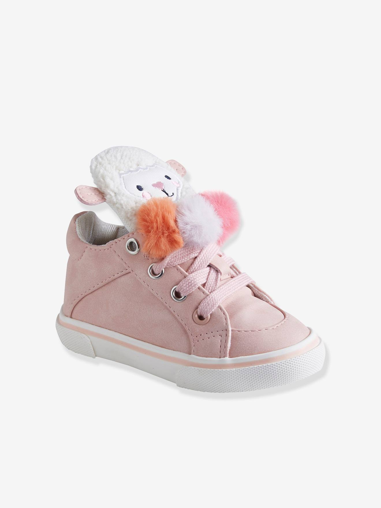 superior quality best sale various styles High Top Trainers for Baby Girls with 3 Pompons - pink light solid, Shoes