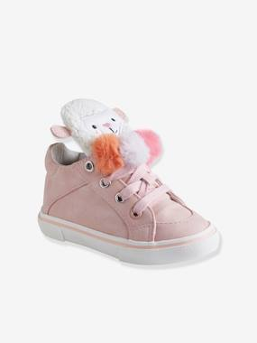 Schoolwear-Shoes-High Top Trainers for Baby Girls with 3 Pompons