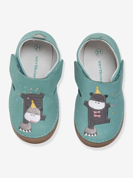 acheter en ligne c953f e71ed Chaussons bébé garçon en cuir souple - water green, Chaussures