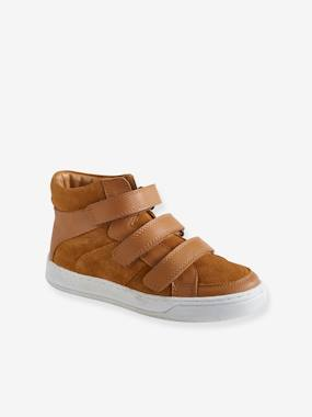Shoes-Boys Footwear-Leather High Top Trainers with Touch Fasteners, for Boys