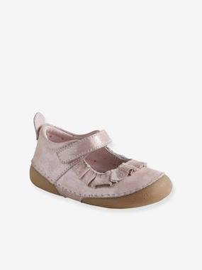 Shoes-Mary Jane-type Shoes in Supple Leather, for Baby Girls