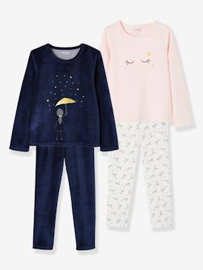 Fille-Pyjama, surpyjama-Lot de 2 pyjamas en coton et velours