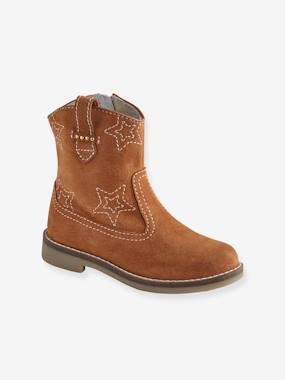 Shoes-Girls Footwear-Ankle Boots-Zipped Mid-Calf Boots in Leather for Girls