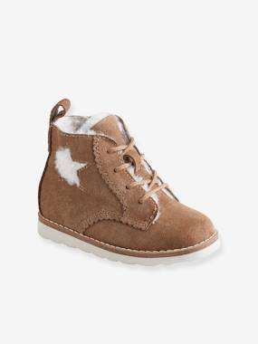 Shoes-Leather Boots, Lining in Faux Fur, with Laces, for Baby Girls