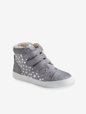 Shoes-High Top Leather Trainers for Girls, with Faux Fur & Touch Fasteners