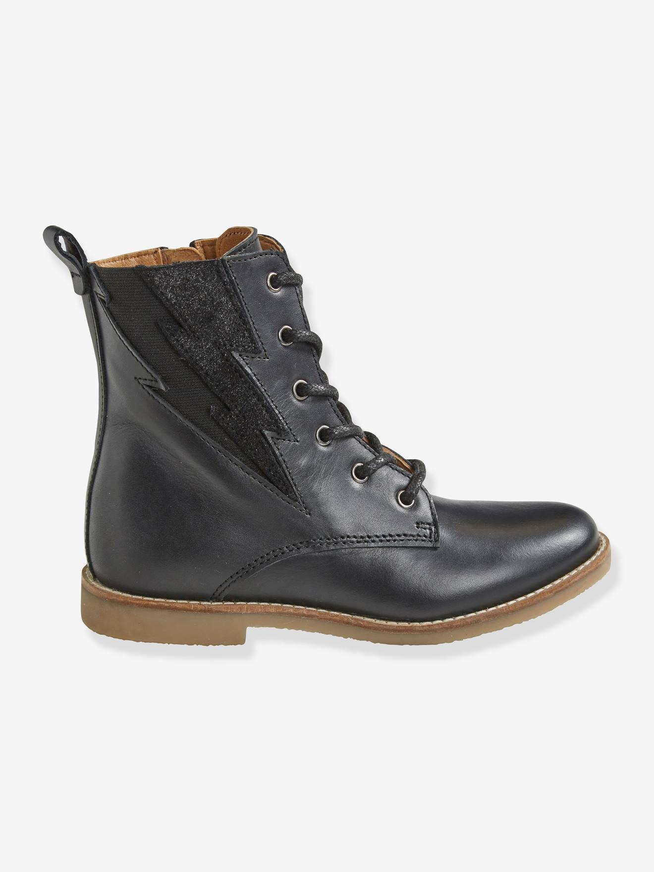 noirChaussures hautes lacées zippées cuir fille et en Bottines LSUpGzqMV