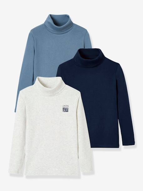 Pack of 3 Turtleneck Tops for Boys BLUE DARK TWO COLOR/MULTICOL+WHITE LIGHT TWO COLOR/MULTICOL - vertbaudet enfant
