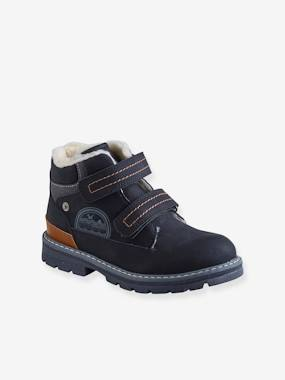 Schoolwear-Shoes-Boots with Touch-Fastening Tabs, Faux Fur Lining, for Boys