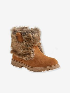 Shoes-Leather Boots with Faux Fur Details, for Girls