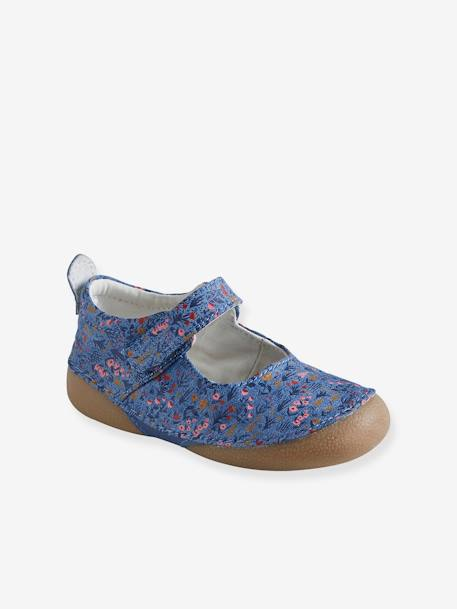 Mary Jane Shoes for Baby Shoes in Printed Canvas BLUE MEDIUM ALL OVER PRINTED - vertbaudet enfant
