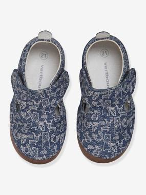 Shoes-Baby Footwear-Slippers & Booties-Printed Denim Shoes for Baby Boys