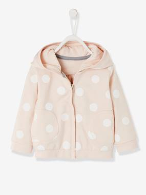 Baby-Jumpers, Cardigans & Sweaters-Sweaters-Printed Fleece Jacket, with Zip, for Baby Girls