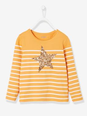 Vertbaudet Collection-Girls-Tops-Top with Sequins, for Girls