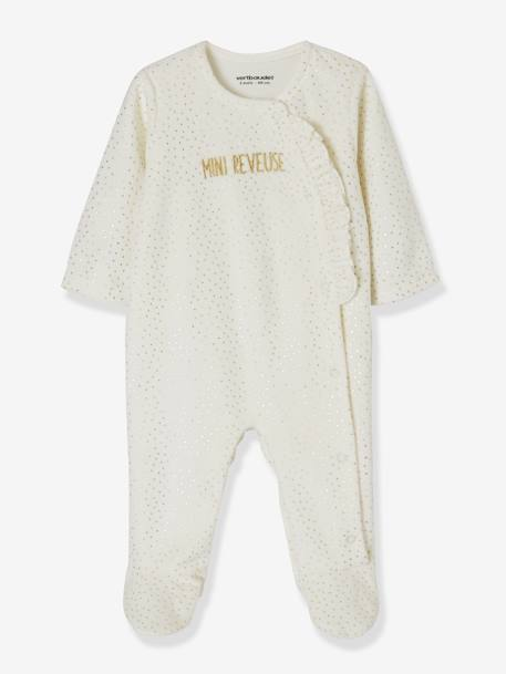 Pack of 2 Velour Sleepsuits for Babies WHITE LIGHT TWO COLOR/MULTICOL - vertbaudet enfant