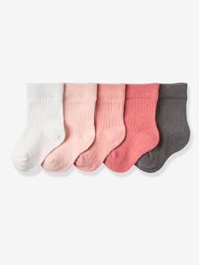 Baby-Socks & Tights-Baby Pack of 5 Pairs of Flat Rib Socks