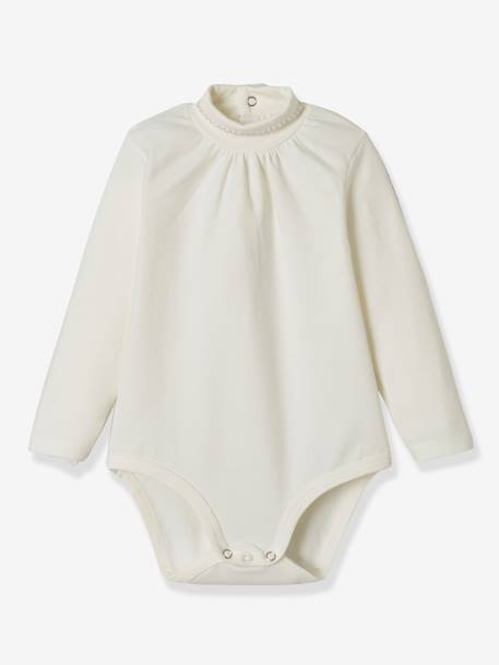 Pack of 2 Bodysuits for Babies, High Neck, Long Sleeves WHITE LIGHT TWO COLOR/MULTICOL - vertbaudet enfant