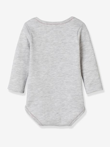 Pack of 2 Long-Sleeved Mickey® Bodysuits, for Babies GREY LIGHT SOLID WITH DESIGN - vertbaudet enfant