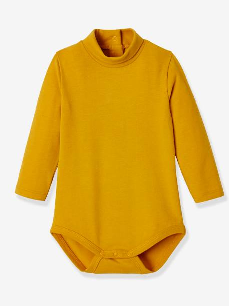 Pack of 2 Bodysuits for Babies, High Neck, Long Sleeves BLUE DARK SOLID+YELLOW DARK SOLID - vertbaudet enfant