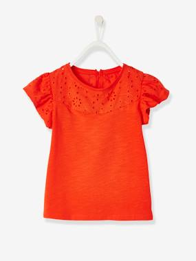 haut-T-Shirt for Girls, with Broderie Anglaise and Ruffled Sleeves
