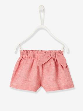Baby-Shorts-Shorts in Linen & Cotton, for Baby Girls