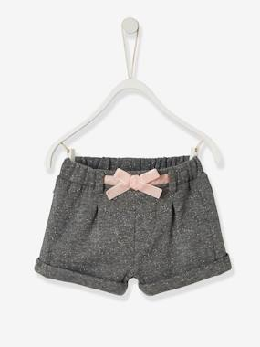 Baby-Shorts-Iridescent Fleece Shorts, for Baby Girls