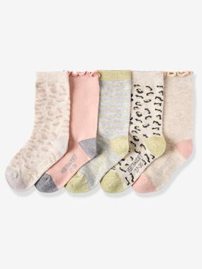 Girls-Underwear-Pack of 5 Pairs of Leopard Socks, for Baby Girls