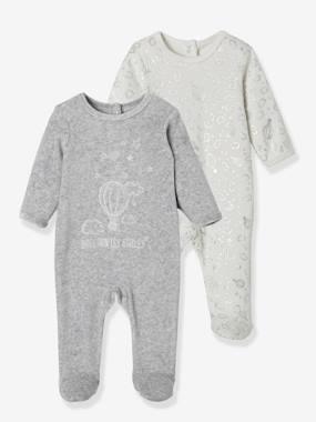 pyjama-Baby-Pack of 2 Velour Sleepsuits with Press-Studs on the Back