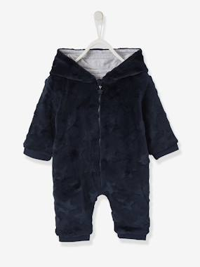 Baby-Dungarees & All-in-ones-Hooded Onesie for Baby, Plush-Touch