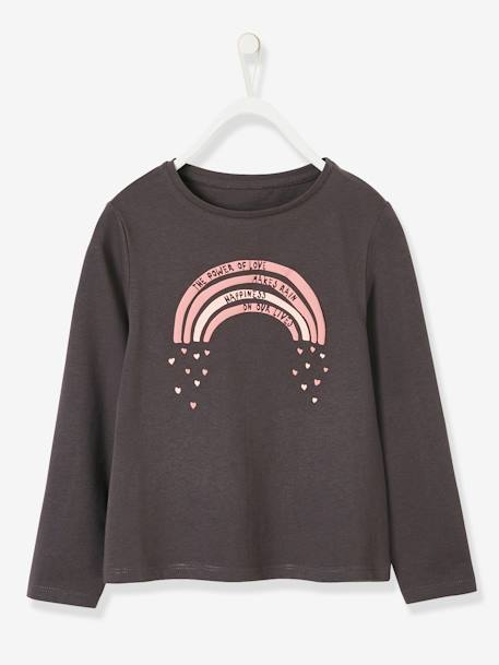 Top with Fun Motif, for Girls BLUE DARK SOLID WITH DESIGN+GREY DARK SOLID WITH DESIGN+GREY LIGHT SOLID WITH DESIGN+PINK DARK SOLID WITH DESIGN+PINK LIGHT SOLID WITH DESIGN+YELLOW DARK SOLID WITH DESIGN - vertbaudet enfant