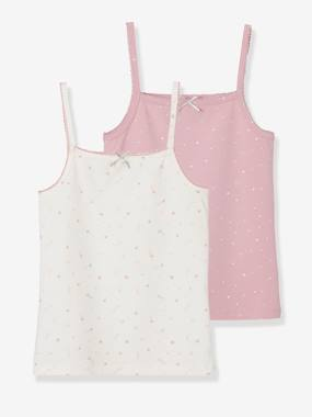 Girls-Underwear-T-Shirts-Pack of 2 Stretch Vest Tops for Girls