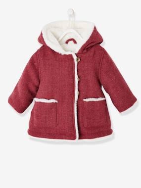 Baby-Woollen Fabric Coat with Hood & Pompom, for Baby Girls