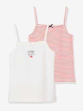 "Girls-Underwear-T-Shirts-Pack of 2 Stretch Vest Tops for Girls, ""Le Plein d'Amour"""