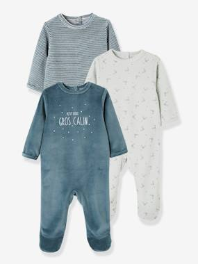 Vertbaudet Collection-Baby-Pack of 3 Velour Sleepsuits for Babies, with Press-Studs on the Back