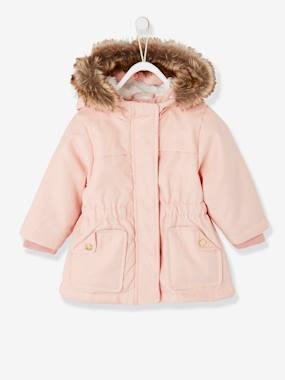 Coat & Jacket-Parka with Hood, Faux Fur Lining, for Baby Girls