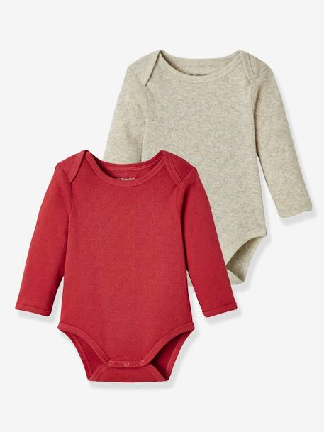 Pack of 2 Bodysuits for Babies, Pure Cotton, Long Sleeves PINK MEDIUM 2 COLOR/MULTICOL - vertbaudet enfant