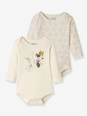Baby-Bodysuits & Sleepsuits-Pack of 2 Long-Sleeved Minnie® Bodysuits, for Babies