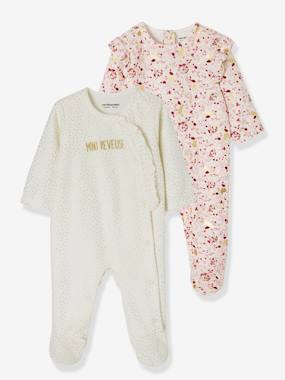 Vertbaudet Collection-Baby-Pyjamas-Pack of 2 Velour Sleepsuits for Babies