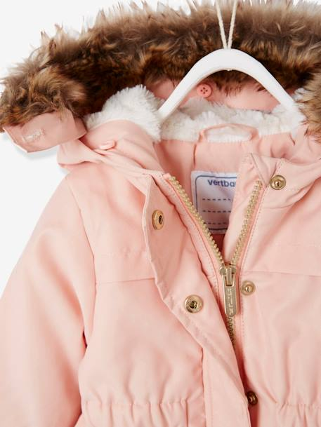 Parka with Hood, Faux Fur Lining, for Baby Girls GREEN DARK SOLID+PINK LIGHT SOLID - vertbaudet enfant