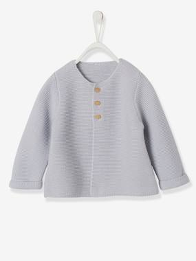 Baby-Jumpers, Cardigans & Sweaters-Knitted Cardigan in Purl Stitch for Newborns